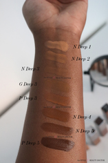 Look 5 cover fx power play concealer deeper shade swatches on dark skin