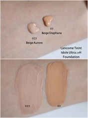 Look lancome teint idole ultra 24h 023 and 03 swatches